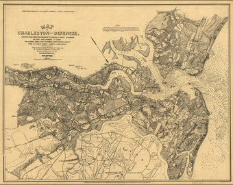 24x36 Poster; Map Of Charleston South Carolina & Defences 1863