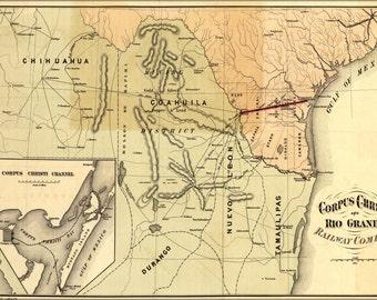 24x36 Poster; Map Of Corpus Christi & Rio Grande Railroad 1874