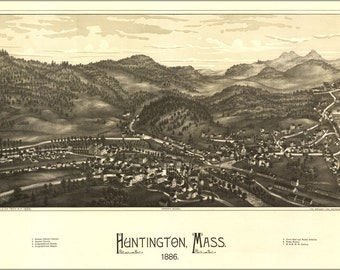 24x36 Poster; Map Of Huntington, Massachusetts 1886