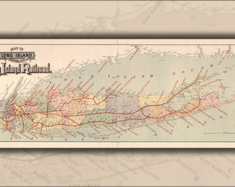 24x36 Poster; Map Of Long Island With Long Island Railroad 1895