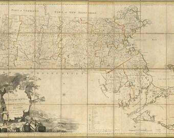 24x36 Poster; Map Of Massachusetts Proper 1801