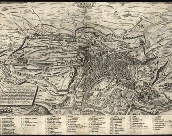 24x36 Poster; Map Of Rome, Italy, 1561
