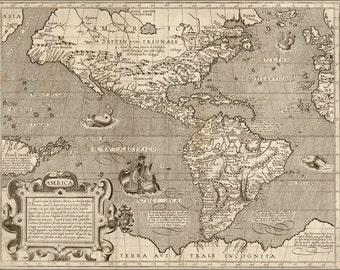 24x36 Poster; 1600 Map Of America Pre United States Canada Mexico