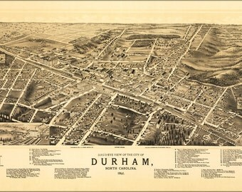 24x36 Poster; Birdseye View Map Of Durham, North Carolina 1891