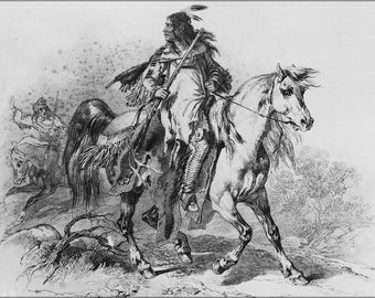 24x36 Poster; Blackfoot Indian On Horseback, With A Rifle By Karl Bodmer