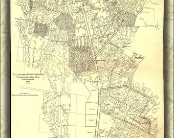 24x36 Poster; Map Of Antietam Battle Field 1895