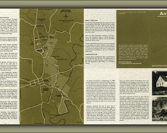 24x36 Poster; Map Of Antietam Battle Field Site, Maryland 1972