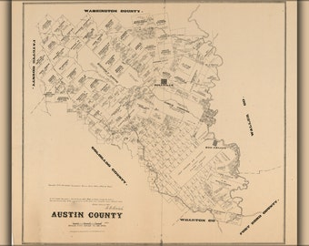 24x36 Poster; Map Of Austin County Texas 1879