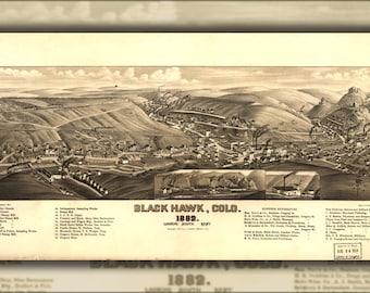 24x36 Poster; Map Of Black Hawk, Colorado 1882