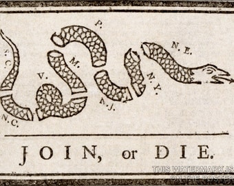 24x36 Poster; Join Or Die Benjamin Franklin - Join Or Die