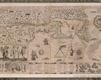 24x36 Poster; New France Map (Samuel De Champlain, 1612). A More Precise Map Was Drawn By Champlain In 1632