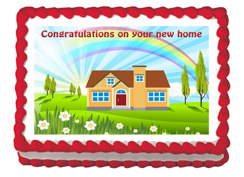 Housewarming new home house edible party cake cupcake toppers for New home cupcake decorations
