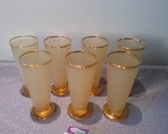 7 gold rimmed frosted beer glasses and vintage tray- now 30% off