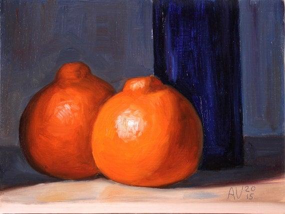 Citrus Painting, Minneola Tangelos and Blue Bottle Still Life Painting by Aleksey Vaynshteyn