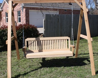 brand new tall cedar a frame swing stand with 6 foot traditional porch swing with hammock stand   etsy  rh   etsy