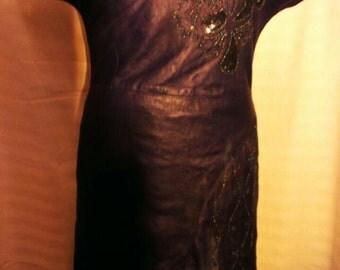 Vintage Leather drees ,vintage , dark purple