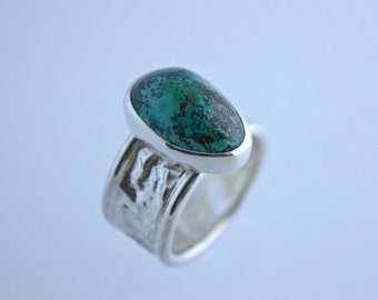 Sterling Silver Reticulated Band with Azure Malachite