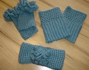 Heather Blue Crochet Earwarmer ~ Wrist Warmers ~ Boot Cuff Set with Sparkling Beads Accents