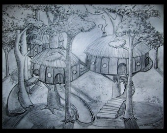 Tree Village Drawing