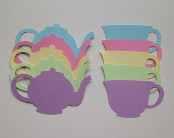 Tea pot and tea cup card stock die cuts - 20 pcs