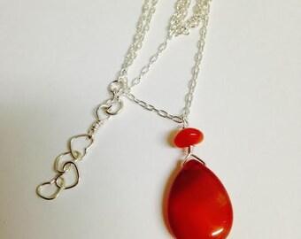 sterling silver carnelian necklace