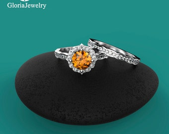 Natural Citrine Engagement ring with the Wedding Band. Get the best price for Engagement and Wedding Rings B7