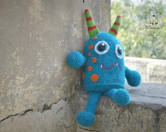 Crochet pattern, crochet monster pattern, monster toy pattern, monster amigurumi pattern, The Blue Monster, pattern no. 4