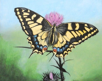 "Tiger Swallowtail on thistle 10""x12"""
