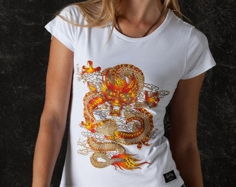 Gold Dragon Women Tshirt Glam Rock Clothing Oriental  Serigraphy Print Artistic Unique Design