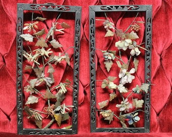 Mid Century Asian Glass Flowers in Black Laquered Frames