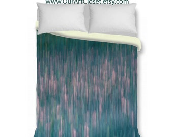 Duvet cover, teal lavender pink green abstract duvet cover, king duvet cover, queen duvet cover, duvet cover & shams, contemporary bedroom