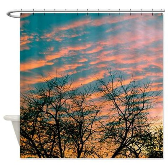 Sunset Shower Curtain Teal Orange Peach Sky Bathroom Decor