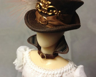 Original Steampunk style dress with matching hat mounted on a mannequin, scale 1:12. OOAK