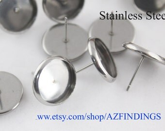 100pcs(50pairs) Stainless Steel Earring Stud Settings-Earring Post-12mm Stud Earring Blank-Bezel Setting Stud Earrings-No allergic-N size