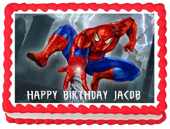 SPIDERMAN Birthday Edible image Cake topper by ...