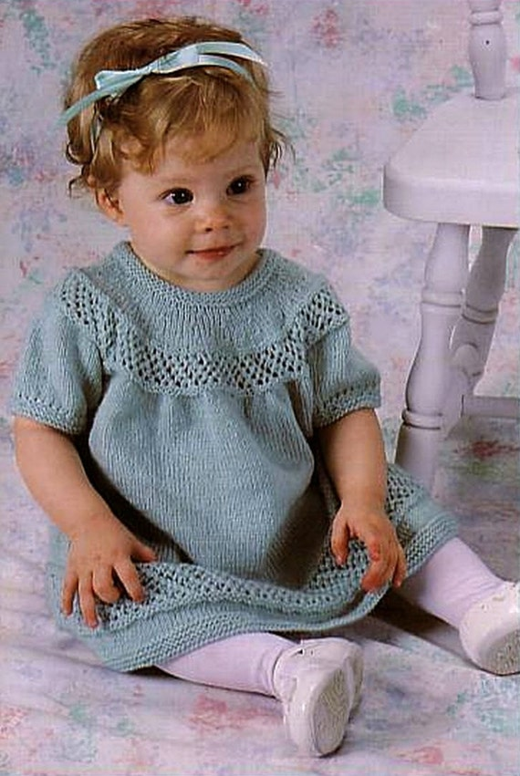 Knitting Skirt For Baby : Items similar to knit baby lace dress vintage knitting
