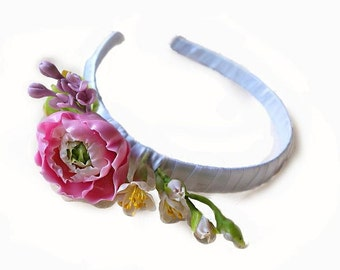 Handmade Hair Accessories. Fashion Flower Floral Hair hoop. Women Accessories. Cold porcelain. Handmade Hair hoop with Ranunculus.