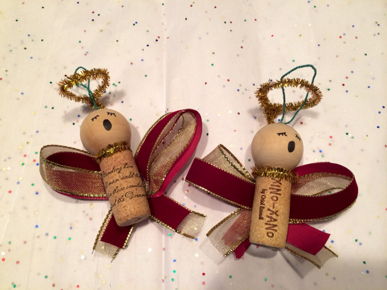Caroling angel wine cork ornament FREE shipping by ...