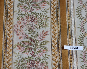 Lisere Gold Stripe Fabric, Luxure woven Jacquard, For Upholstery, Bedding, Drapery, Wallcovering,