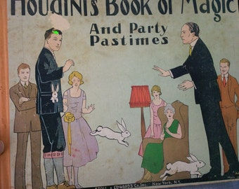 HOUDINI'S BOOK MAGIC and party pasttimes-(has front and back covers)