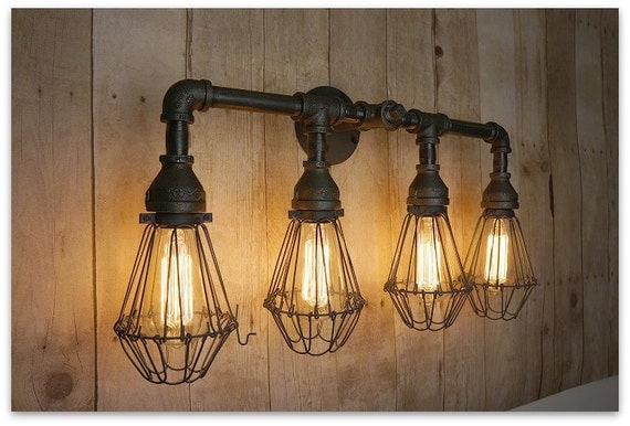Talista 4 Light Antique Bronze Bath Vanity Light With: Edison Bathroom Vanity Light With Cages By 9thAveIronWorks