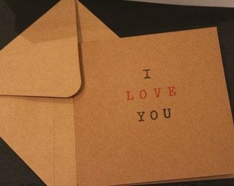 Valentine's Day Card I LOVE YOU by Dotty Rainbow