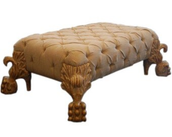 Carved White Gold Tufted Ottoman