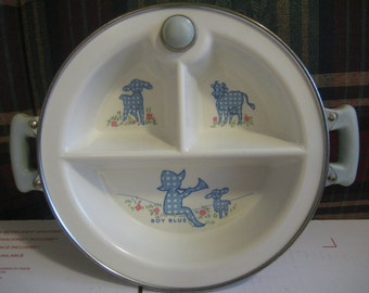 Vintage Excello Chromium Child's Divided Warming Dish, Little Boy Blue, 60's