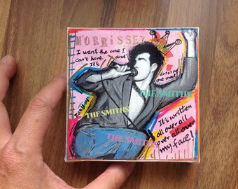 Mini painting /  Morrissey / The Smiths #4  / 10 X 10 cm / Original painting printed on canvas