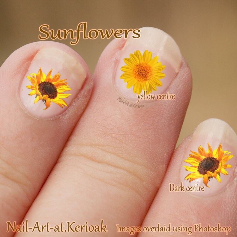 🔎zoom - Sunflower Nail Art Flower Nail Art Stickers Fingernail