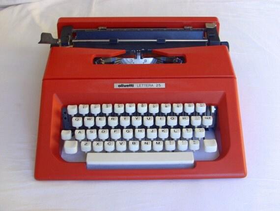 rouge olivetti lettera 25 machine crire parfait tat dans. Black Bedroom Furniture Sets. Home Design Ideas