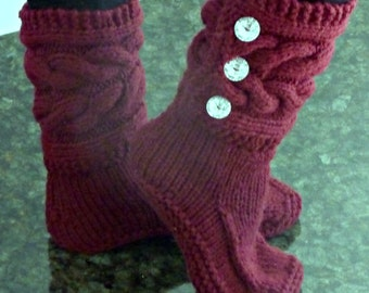 Womens Burgundy Hand Knitted Slipper Boots, Cable Slippers, Hand Made, Custom Designs, All Colors Available