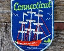 Connecticut Vintage Souvenir Travel Patch from Voyager