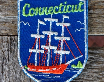 Connecticut Vintage Souvenir Travel Patch from Voyager